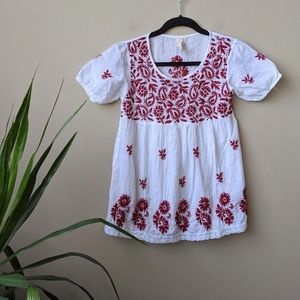 RAGA Paisley Embroidered Floral Print Blouse sz XS